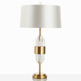 $enCountryForm.capitalKeyWord Australia - Modern Designer Table Lamp Glass Lights Living Room Bedroom Bedside Fabric Lampshade Decor Home Lighting Fixtrues E27 110-240V