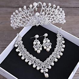 Big Pearl Tiaras Australia - Shosixuan Gorgeous Wedding Tiara Simulated Pearls Jewelry Diadem Shiny Bridal Crown Big Queen Tiaras Rhinestone Crystal Hair Jew C19022201