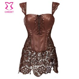 942b652216e Steampunk Brown Lace and Leather Corset Dress Punk Gothic Clothing Sexy  Korset Waist Training Corsets Plus Size Lingerie 6XL