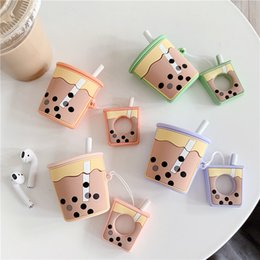 $enCountryForm.capitalKeyWord Australia - Pearl Milk Tea cover AirPods Bluetooth Wireless headset set Japanese and Korean Women's Anti-fall silicone cover is applicable