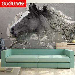 $enCountryForm.capitalKeyWord Australia - Decorate home 3D horse cartoon art wall sticker decoration Decals mural painting Removable Decor Wallpaper G-2443