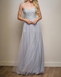 $enCountryForm.capitalKeyWord NZ - Light Gray Bridesmaid Dresses Lace Fancy Long Sweetheart Sleeveless Lace top Tulle bottom Long Bridesmaid Dress