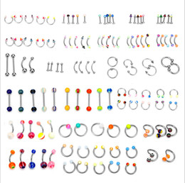 nose piercing styles UK - Nose Studs 110 Pieces Body Piercing Accessories With 24 Styles Of Tongue Nail Nose Ring Navel Nail Sets 2019 Hot selling