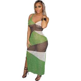 74703bc980 Knitted Crochet Beach Dress Women Summer Sexy Mesh Long Dress See-through  Hollow Out Side High Split Party Beach Sundress Boho