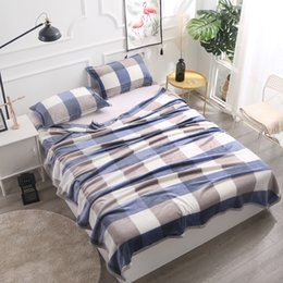 portable bedding adults Australia - Adult Blue Plaid Flannel Fleece Blanket Sofa Throws Winter BedCover Twin Queen King Size Fluffy Plaid for Bed GFLUTOSE