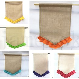Wholesale Blank Burlap Flag DIY Jute Ruffles Garden Flags Portable Blank Banner Easter Garden Decorations Colors dc420