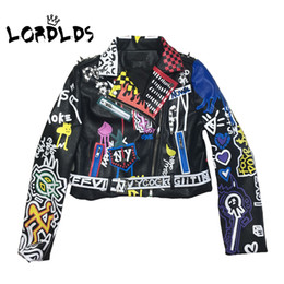 Wholesale punk biker clothing resale online - LORDLDS Leather Jacket Women Graffiti Colorful Print Biker Jackets and Coats PUNK Streetwear Ladies clothes
