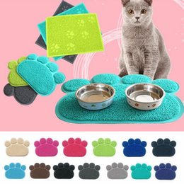 Cat Food Storage Australia - 12 Colors Dog Puppy Paw Shape Placemat Pet Cat Dish Bowl Feeding Food PVC Mat Easy Clean AAA259 p