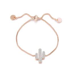 $enCountryForm.capitalKeyWord NZ - European USA Style Love Cactus Bracelet for Women Girls Designer Jewelry Zirconia Rose Gold Platinum Color