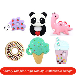 Discount teethers - 20 Designs Baby Silicone Teethers BPA Free Teething Toy Dinosaur Dog Cactus Elephant unicorn ice cream Flamingo sloth Ba
