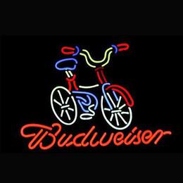 "$enCountryForm.capitalKeyWord Australia - Bicycle Fat Tire Budweiser Neon Light Sign Light Beer Bar Pub Restraunt Wall Decor Real Glass Tube 16"" x 14"""
