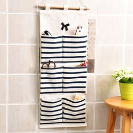 linen bedding sale Canada - Multi-pockets Striped Wall Hanging Linen Cotton Storage Bag Bathroom Shelf Pouch SUB Sale