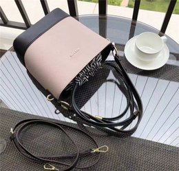 tote bucket bag drawstring 2019 - KS Leather Bucket Bag Fashion Week Drawstring Handbag Women Ladies Shoulder Bag Satchel Tote Purse Belt Cross Body Messe