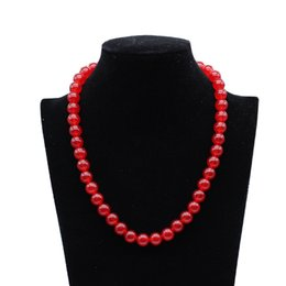 8mm Red Coral Beads Australia - 8mm 10mm Red Natural Stones Round Beads Coral Chalcedony Crystal Howlite Onyx Long Necklace Women Jewelry Collares 48cm