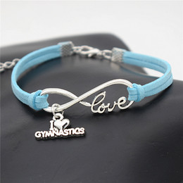 $enCountryForm.capitalKeyWord Australia - Personality Infinity Love I Heart Gymnastics Pendant Charm Bracelet & Bangles Women Men Blue Leather Rope Jewelry DIY Handmade for Girl Gift