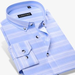Wholesale dress shirts colors online – Men s Standard Regular fit Colors Striped Dress Shirt Quality Cotton Casual Long Sleeve Button down Thin Shirts