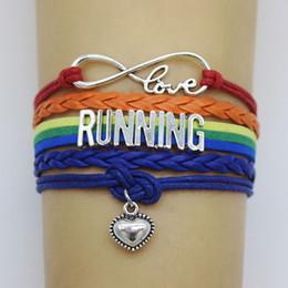 $enCountryForm.capitalKeyWord Australia - 10PC Lot Infinity Love Running Shoes Heart Charm Wrap Bracelets Heart Bracelet Wax Leather Custom Women & Men Bracelets Jewelry