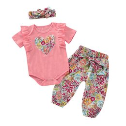 d810f3e060449 Ins Love Newborn Outfits sweet Girls Outfits baby girl romper+Harem Pants+bows  headband Infant Outfits baby girl clothes girls set A4448