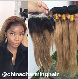 $enCountryForm.capitalKeyWord Australia - 1B 27 Honey Blonde Straight Ombre Human Hair Weave 3 Bundles with Lace Closure Brazilian Virgin Hair