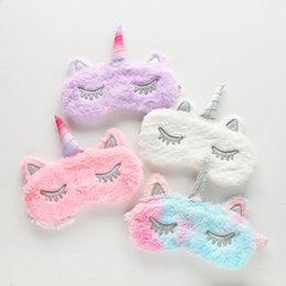 Horn masks online shopping - Cute unicorn eyemask new design silver horn cartoon women plush eye mask eyelashes sleep shade Eyepatch