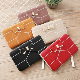 cell phone purse wallet organizer Australia - Ladies Bowknot Multifunctional PU Leather Pouches Wristlets Long Clutches Wallet Coins Purses Handphone Organizer Wallets Girls Handbag