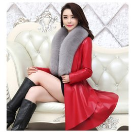 Elegant Sash Belt Australia - Women Pu Jacket Big Fur Collar Belt Coat Warm Thick Autumn Winter Overcoat Fashion Elegant New Arrival Big Size Ruffle Edge
