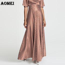 3b302c9e23 Fashion Plus Size 5XL Women Maxi Long Skirts Pleated Polka Dot Wine Red  High Waist A Line Jupe Spring Summer Elegant Falda Saias
