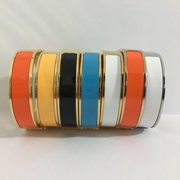Wholesale 12mm Luxury Cuff Bracelets Bangles Wristband Enamel Bracelet H Silver Buckle Top quality Bracelets For Women