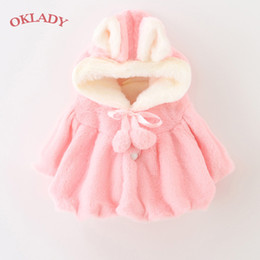fluffy shawls 2019 - OKLADY Winter Girls Fluffy Coat Toddler Warm Hooded Cloak Cotton Princess Shawl Plush Cute Baby Girls Spring Pink Coats