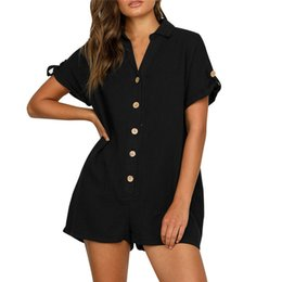 7b5e05be909 Solid Playsuit Sexy Romper V Neck Playsuit Women Short Sleeve Summer Button Sexy  Jumpsuit Macacao Feminino 40DC17