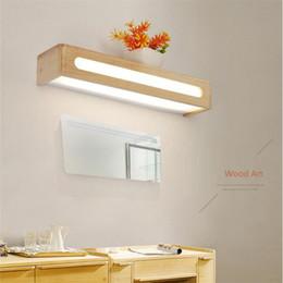 $enCountryForm.capitalKeyWord Australia - Mirror front light bathroom makeup lamp bathroom dressing table mirror lamp Nordic counter bathroom wood wall lamp mirror light