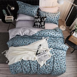 King Size Leopard Print Bedding Sets UK - Home Textile Leopard print Bedding Set 3 4pcs Queen Full King Size Duvet Cover Child Adult Pillowcase Flat Sheet Bedclothes