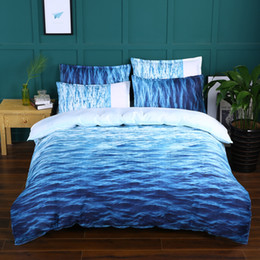 Ocean Bedding Australia - Lucky Home 3 Piece-King Size 3D Blue Sea Bedding Set Summer Ocean Pattern Home Textile Hotel Bedding Sheet Sets for Children ,Adults Sets