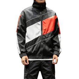 full zip jacket polyester Australia - Color Block Patchwork Windbreaker Track Jackets 2020 Autumn Mens Hip Hop Fashion Causal Full Zip Up Coats Streetwear M-5XL