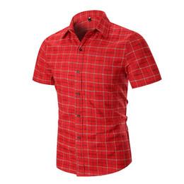 $enCountryForm.capitalKeyWord Australia - Casual Mens Dress Shirts Summer Blouse Men Clothing New Camisa social 2019 Plaid Shirt Short Sleeve Linen Black red gray