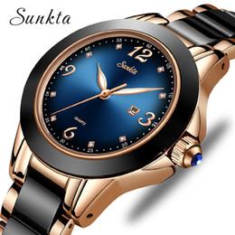 $enCountryForm.capitalKeyWord NZ - Sunkta Fashion Watches Ladies Top Brand Luxury Ceramic Rhinestone Sport Quartz Women Blue Waterproof Bracelet Watch MX190720