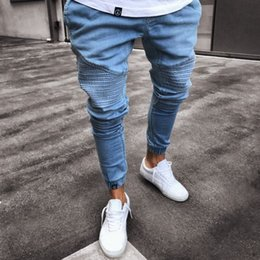 pleated pants for men Canada - Mens Jeans Pleated Jeans In Solid-color Fashion for Men Tie Their Legs Elastic Waist Men