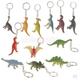 key ring pack UK - Pack Of 2 12pcs Key Rings Keychain With Dinosaur Pendant Resin Cartoon Animal Keyring Fashion Car keychain jewelry Charms
