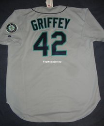 bde6982e3 Cheap Retro #42 KEN GRIFFEY JR Top Russell Athletic SEATTLE Jersey 52 NWT  42 1997 Mens Stitched Baseball jerseys