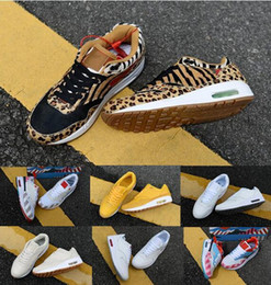 Discount air running shoes 87 women - 2018 New Arrival 1 87 DLX Air ATMOS Casual Shoes Animal Pack 1s 87s Leopard gra Men Maxes Women Classic Athletic Zapatos