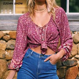 bohemian print blouse UK - Bohemian Lacing up O neck Floral Print Cotton Shirt BOHO Holiday Women Single-Breasted Long Sleeve Blouse Causal Tops Beach