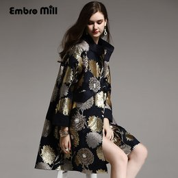 floral trench coat women Australia - Vintage royal spring autumn coat woman elegant lady loose black blue Chinese style floral beading trench coat female