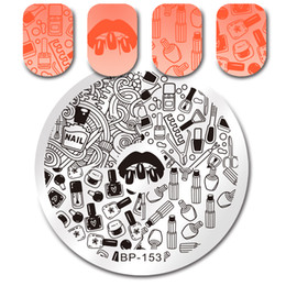 Lip Polish Australia - stamping plates BORN PRETTY Lip Stick Round Art Stamp Template Playing Cards Lines Image Stamping Plates Nail Polish Manicure Tools