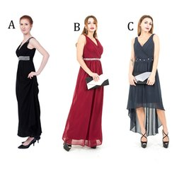 scoop back maxi dress NZ - Maxi Evening Dresses Elastic band Smark Back V neck Party Dress Formal Cocktail Dress Bridesmaid Three Styles