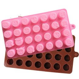 Smile mold online shopping - 28 Grid QQ Emoji Mold DIY Chocolate Mould Ice Tray Smiling Face Pattern Die Silica Gel Food Grade Baking Tools hq C1
