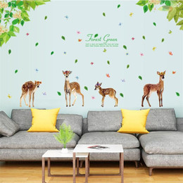 Deer Wall Stickers Decal NZ - 3D Deer Butterfly Refreshing Green Forest Leaves Wall Sticker Home Decor Bedroom TV Sofa Wall Poster Self-adhesive PVC Art Mural