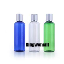 Skin cap Shipping online shopping - ml DIY Clear pet Bottle With Disk Cap cc green Round Shoulder Pet Skin Care blue Bottle