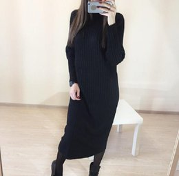 $enCountryForm.capitalKeyWord Australia - Korea Winter Long Sleeve Knit Turtleneck Sweater Slim Gorgeous Beautiful Women Oversize Loose Big Bust Size Dress Xl Size Add T4190614