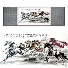 $enCountryForm.capitalKeyWord Australia - High Quality Chinese Horse Silk Painting Horse Art Painting Silk Rolling Painting Eight 19062705
