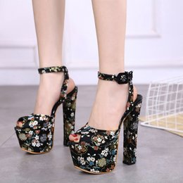 Black Floral Print Heels Australia - 16cm Designer heels party shoes black floral embroidery platfom sandals size 35 to 40